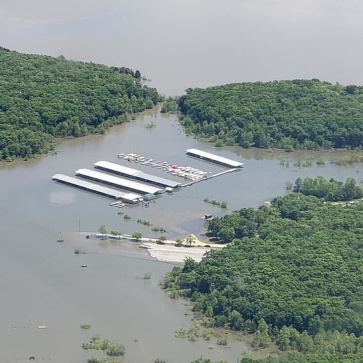 Truman State Park Marina - Surrounded By Floodwaters, May 2019