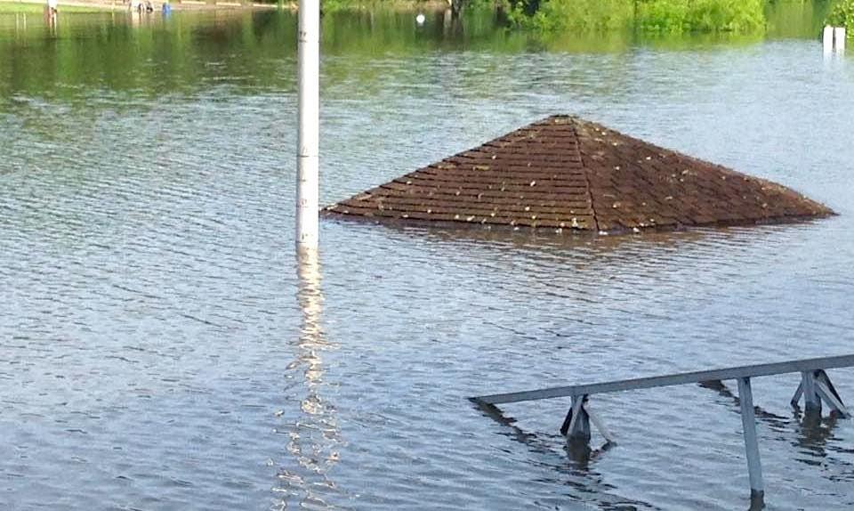 Flooding 'High Water Mark' Pole At Truman State Park Marina