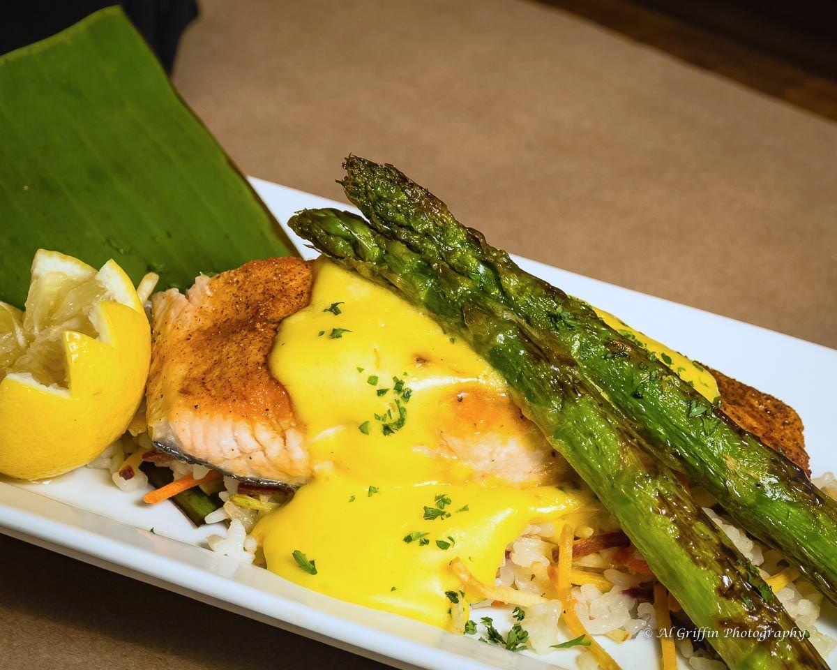 Sautéed Salmon with Hollandaise and Grilled Asparagus over Risotto