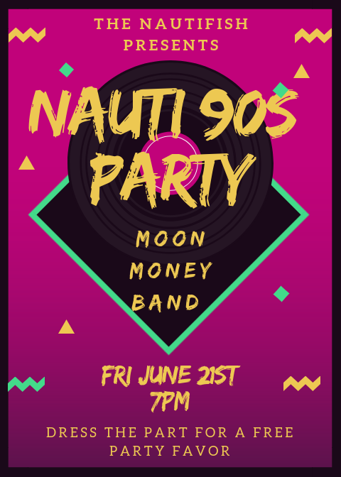 Nautifish 90s Party Flyer