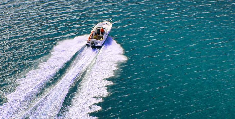 Speedboat on Water - Royalty Free