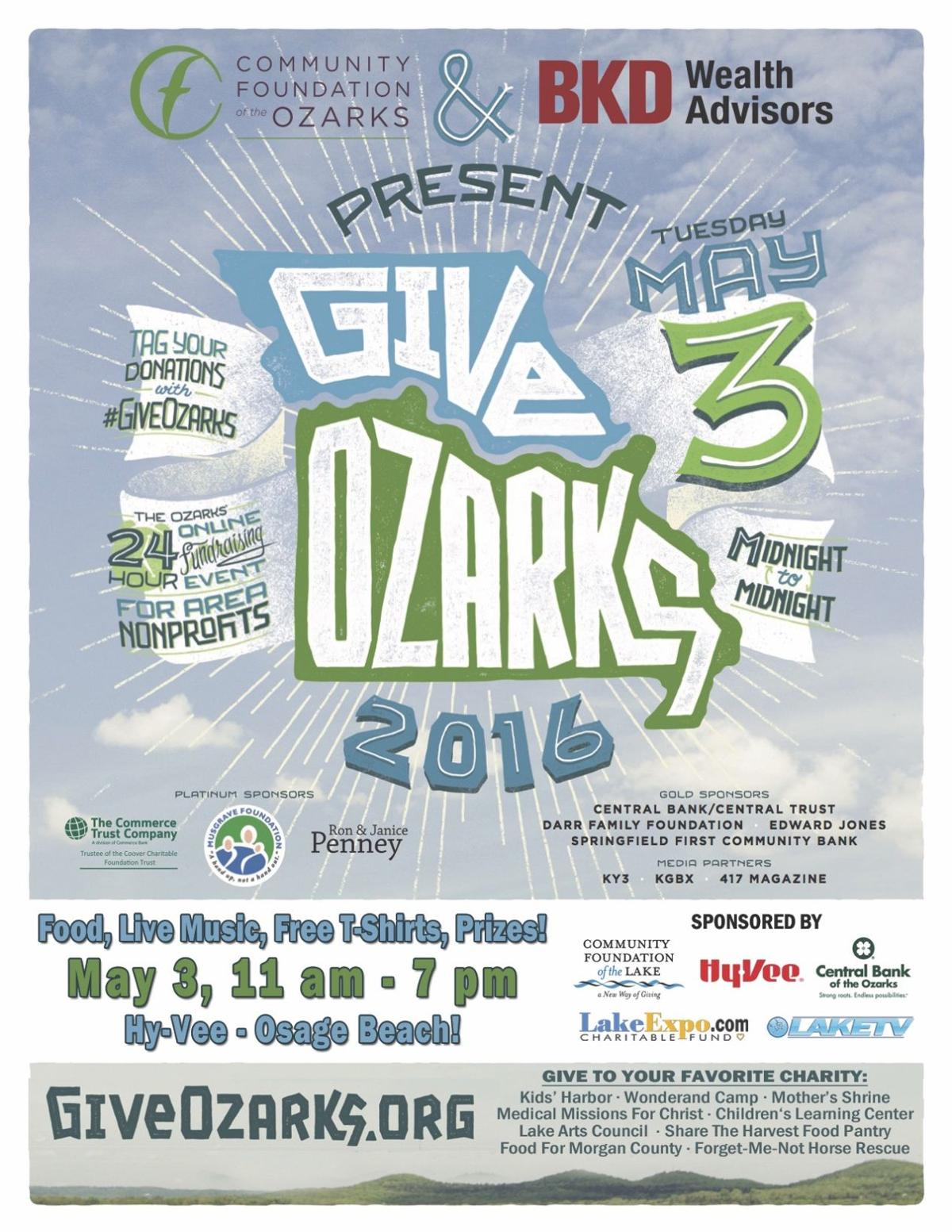 give ozarks local day of giving may 3 to benefit 10 lake charities