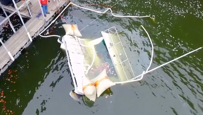 Sunken Houseboat Is Lifted Off The Lake Floor VIDEO  Boat