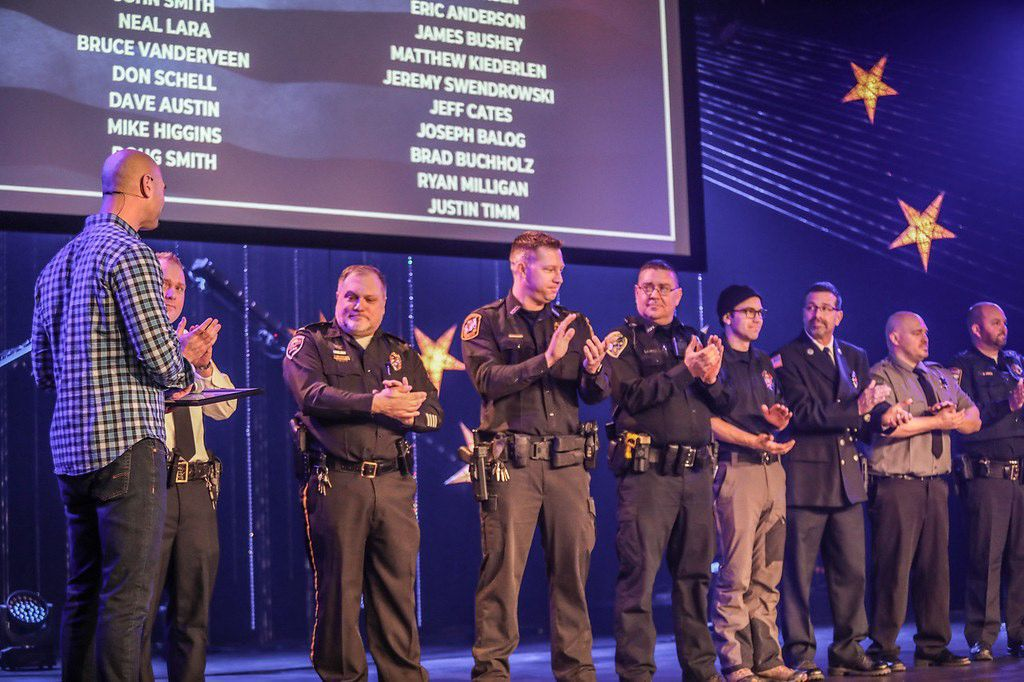 Police, fire and rescue chiefs receive Lakeland donations.