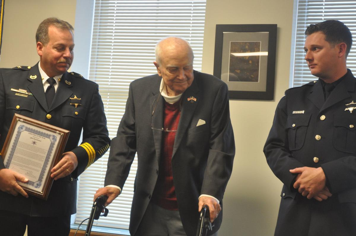 Officer Brock Bouland receives the Lake Geneva Police Department's Employee of the Year honor