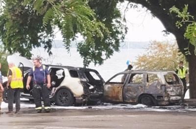 Car fire on Lake Geneva lakefront