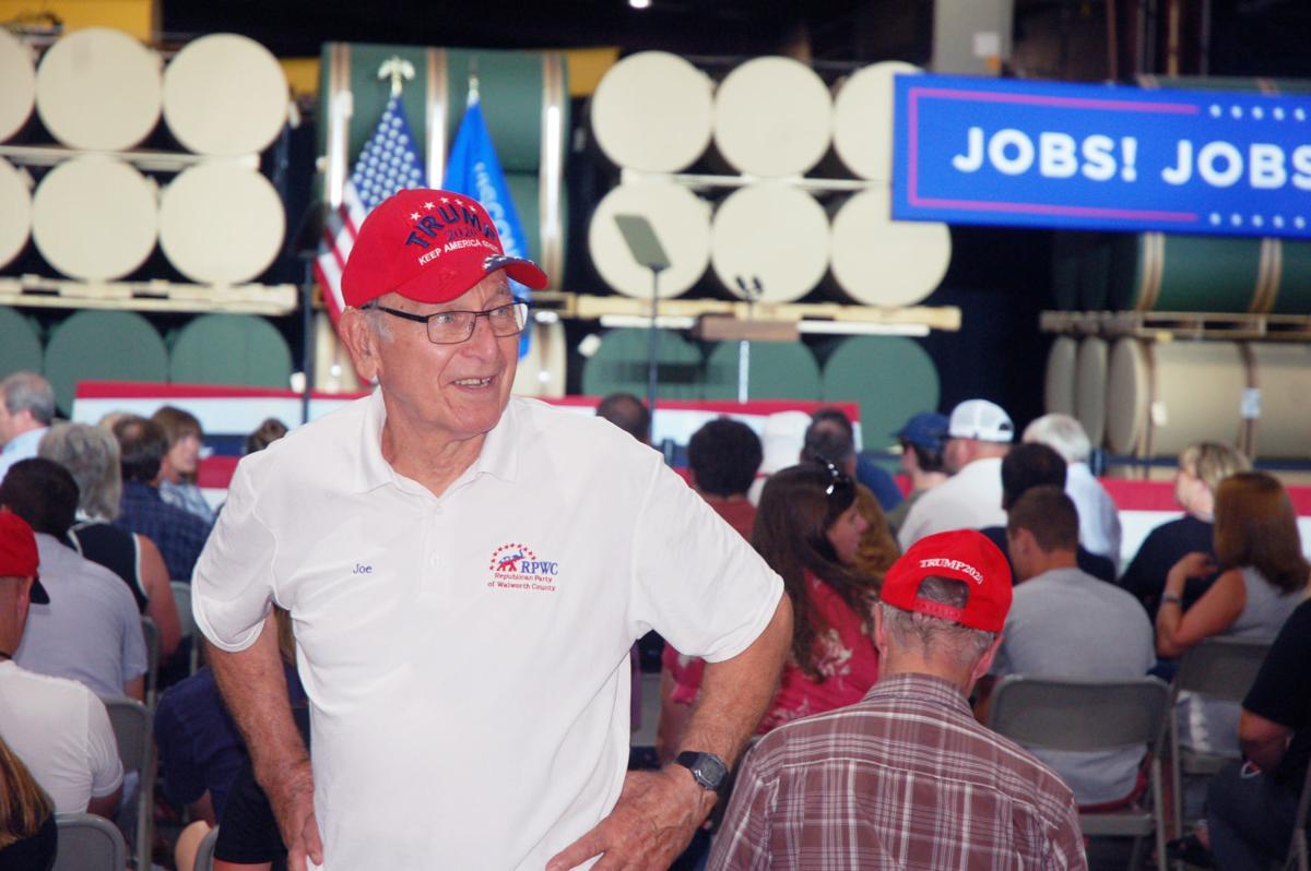 Joe Rezek of Delavan at Mike Pence event in Darien
