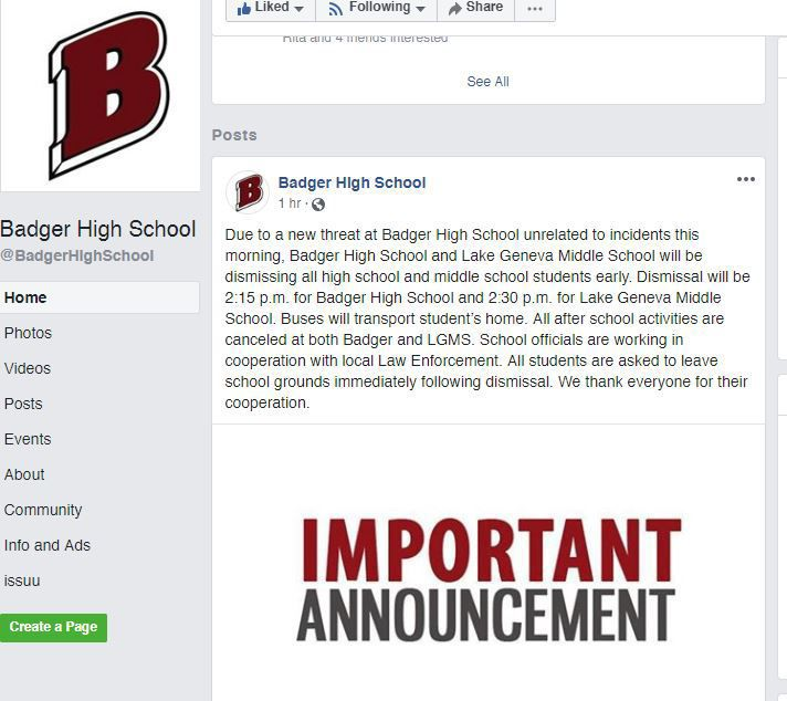 Facebook post - Badger High School