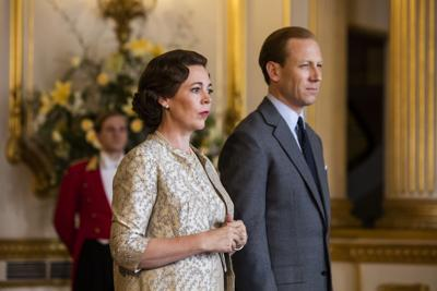 """Olivia Colman as Queen Elizabeth II and Tobias Menzies as Prince Philip in the third season of Netflix' s """"The Crown."""""""