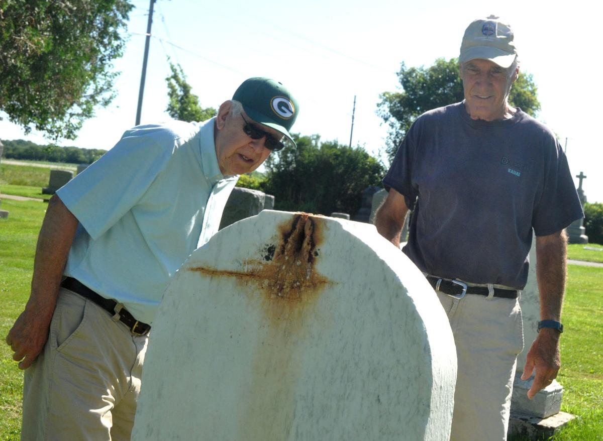 Dave Altwies, left, and Jerry Hawver, St. Francis de Sales Cemetery Committee members,