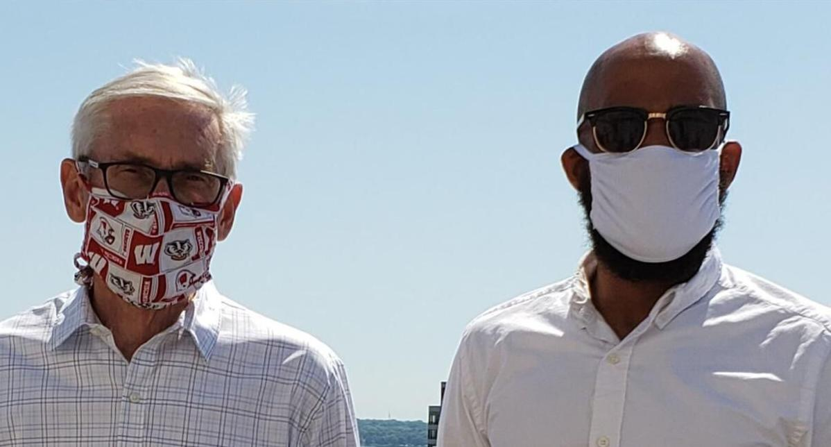 Tony Evers and Mandela Barnes in masks