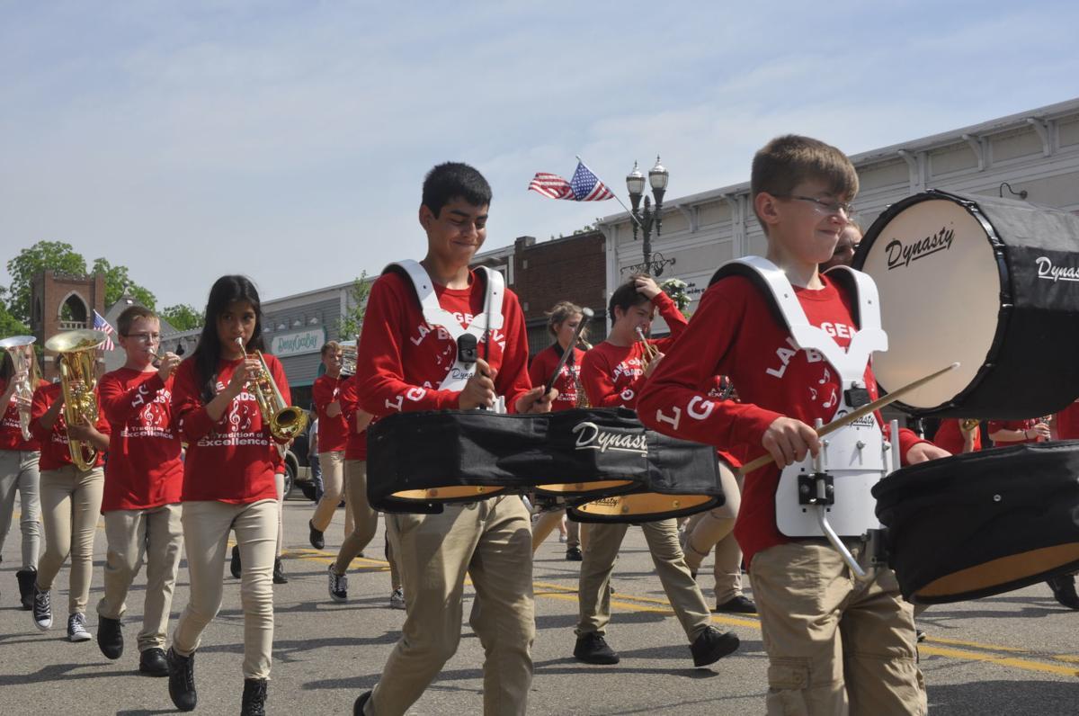Marching band 7th graders parade