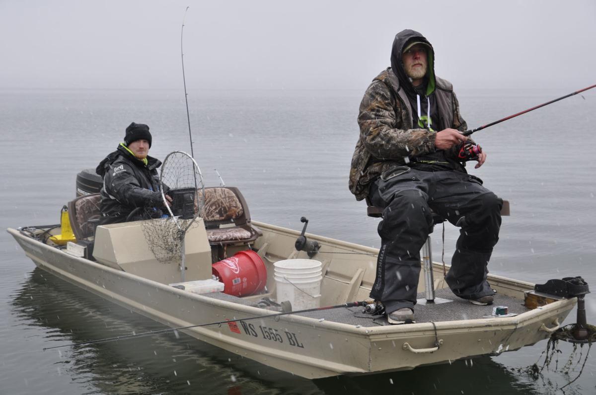 Ryan Dwyer and Matt Iverson fishing Williams Bay in snow 2