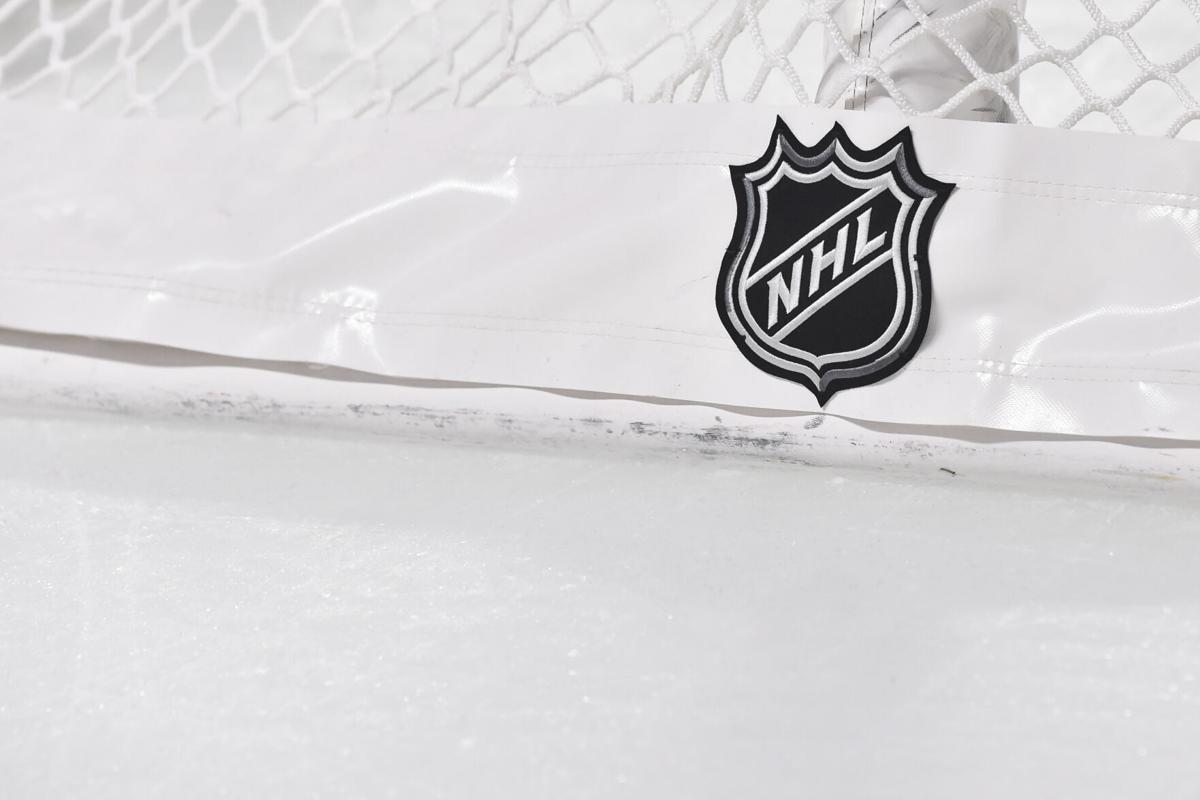 The NHL logo on the back of the goal netting during a game between the Montreal Canadiens and the Boston Bruins on Nov. 5, 2019 at the Bell Centre in Montreal, Canada.