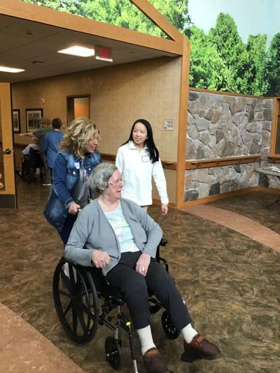 Mel Davis and Olivia Freitag at county nursing home