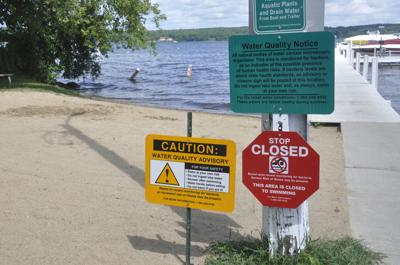 Warning signs at Hillside Beach