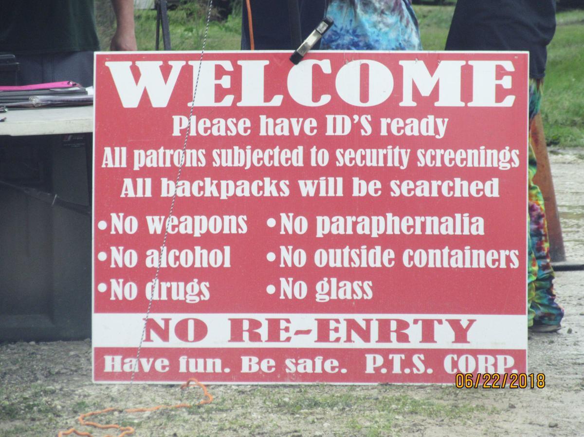 Sign at John Neighbors alleged illicit campground
