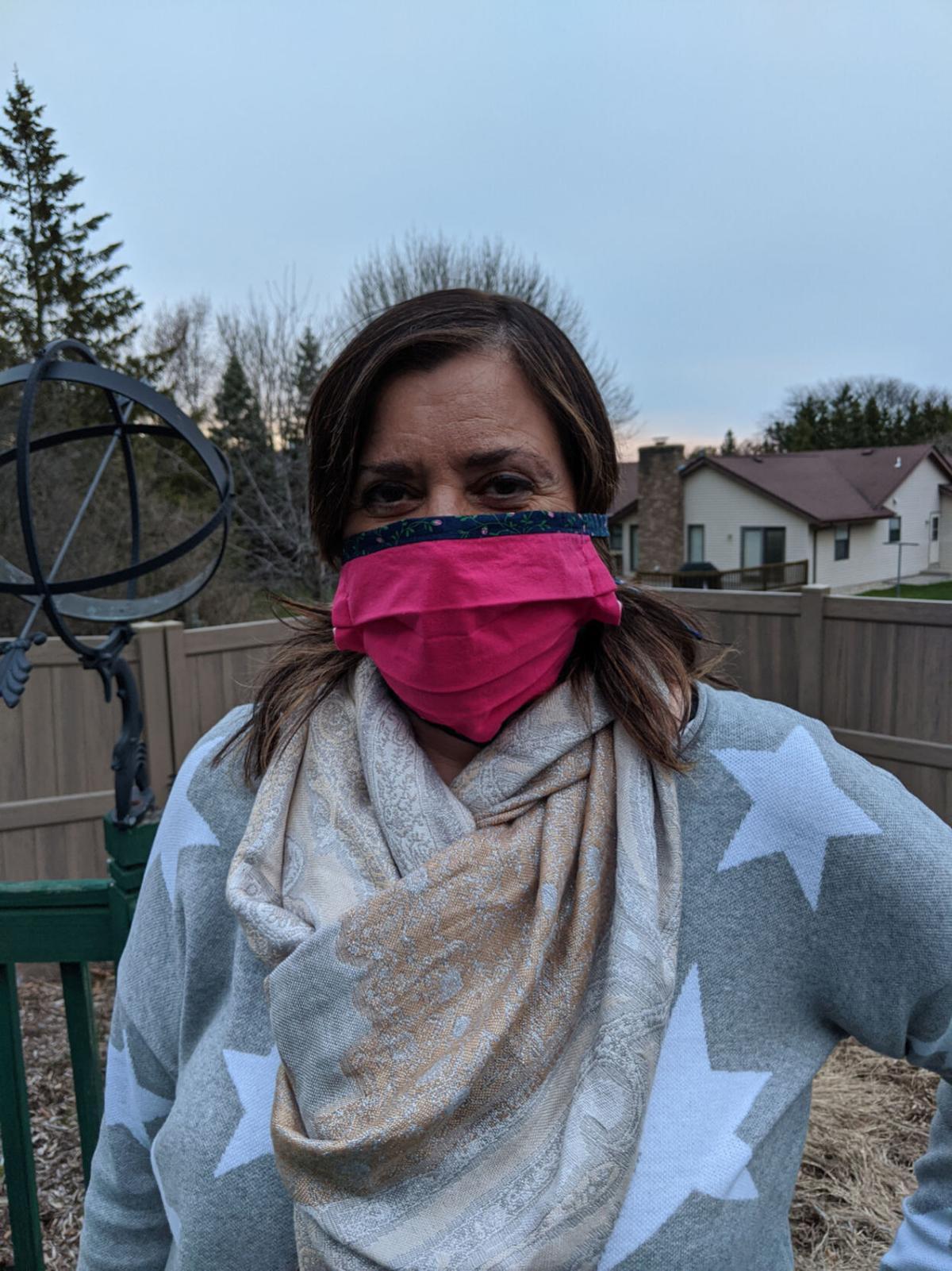 Liz wearing a mask.