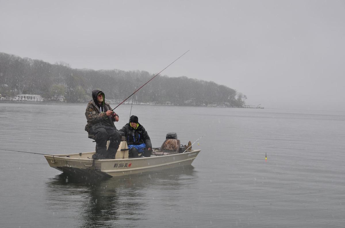 Ryan Dwyer and Matt Iverson fishing Williams Bay in snow