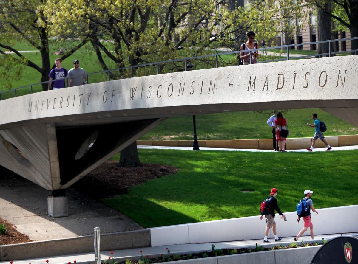 UW-Madison pedestrian bridge with name