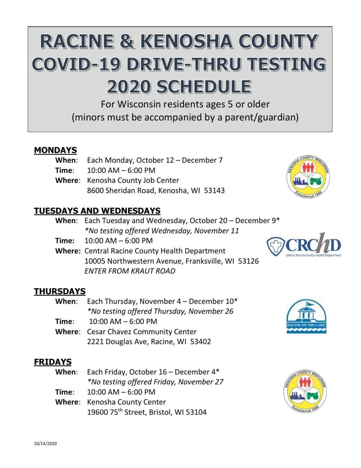 CLICK HERE to check out the bilingual Racine County/Kenosha County COVID-19 drive-thru testing schedule through Dec. 10