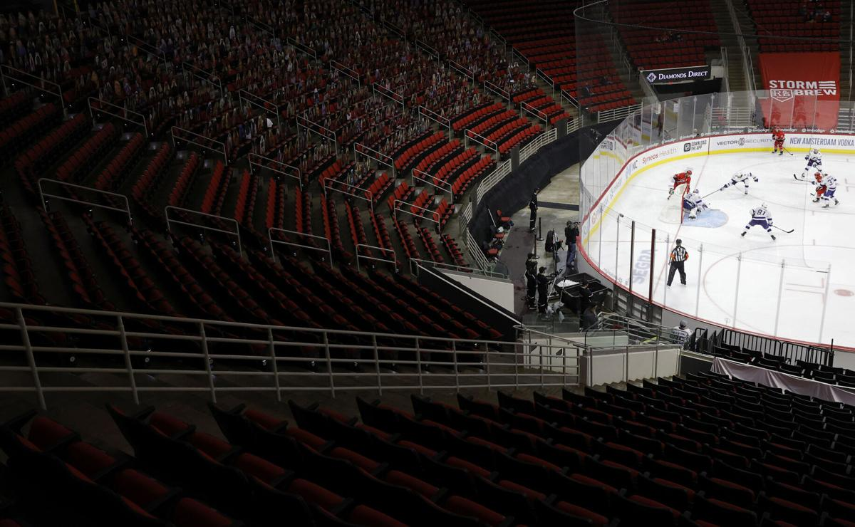 A general view of the game between the Carolina Hurricanes and the Tampa Bay Lightning during the third period of their game at PNC Arena on February 22, 2021, in Raleigh, North Carolina.