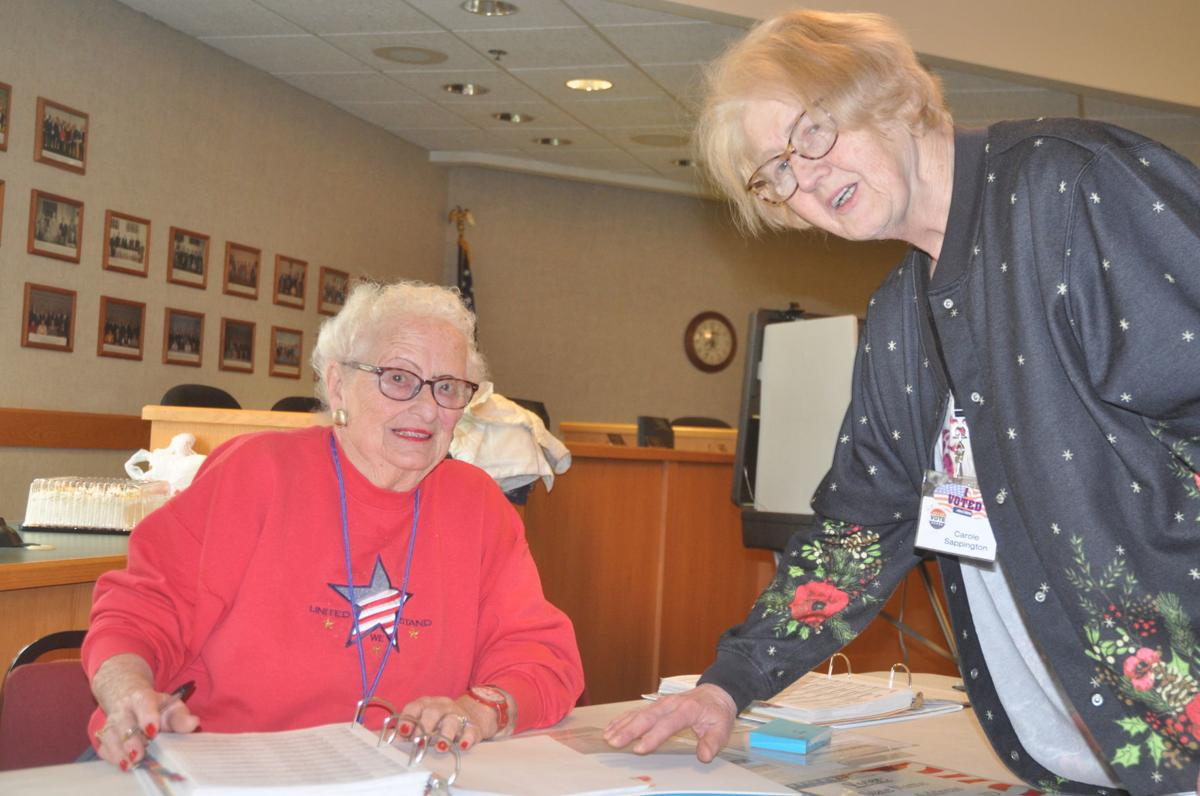 Barbara Braden, left, and Carole Sappington have worked together as election inspectors for many years
