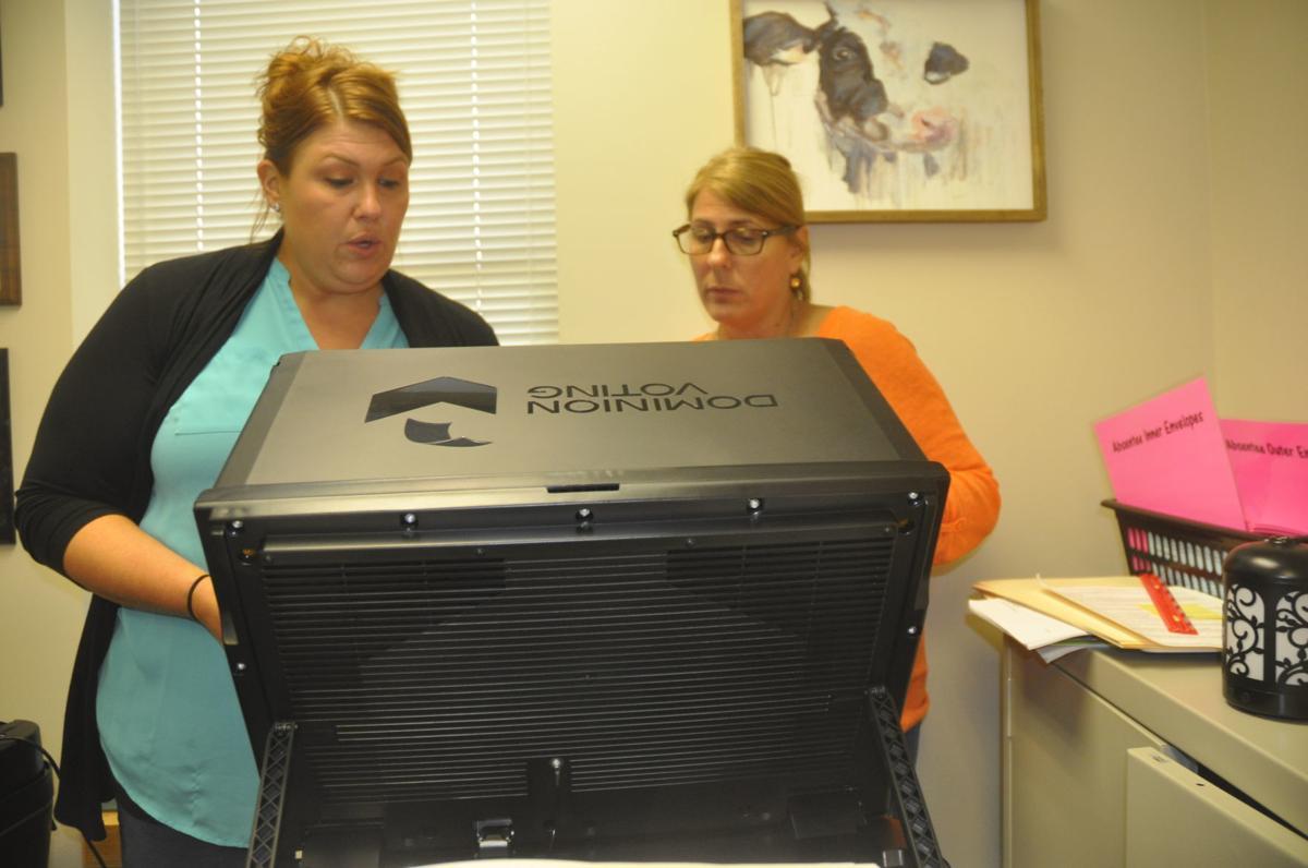 Lana Kropf and Nan Elder city clerks with new voting machine
