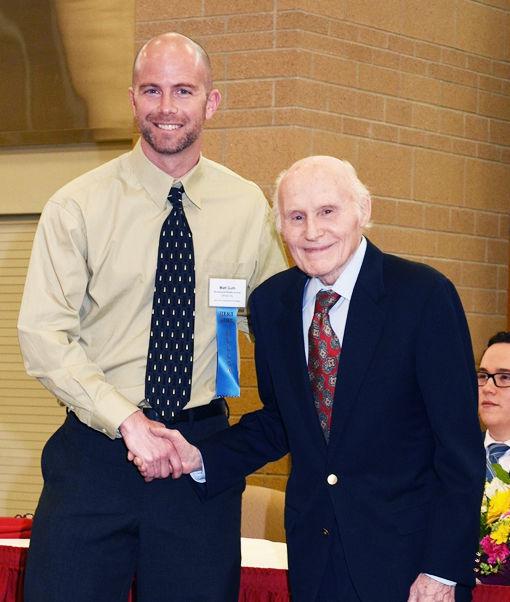 Matt Guth Brookwood teacher with Herb Kohl