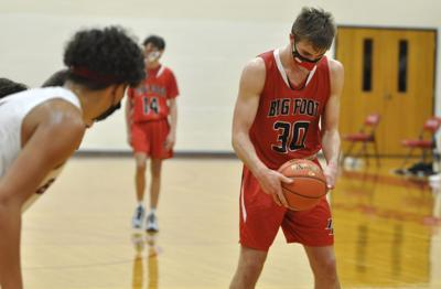 Big Foot High School's Gus Foster looks at the ball as he prepares to shoot a free throw