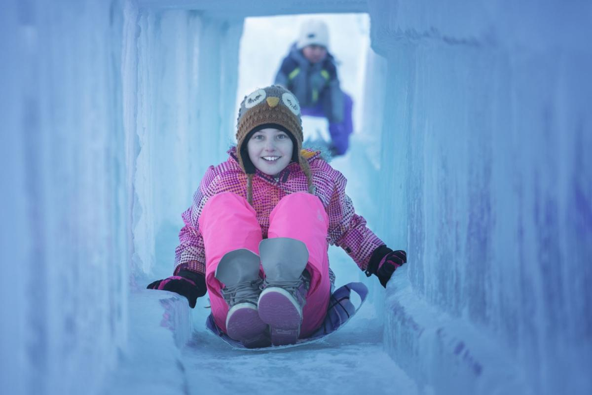 Ice castles are a popular attraction for people of all ages