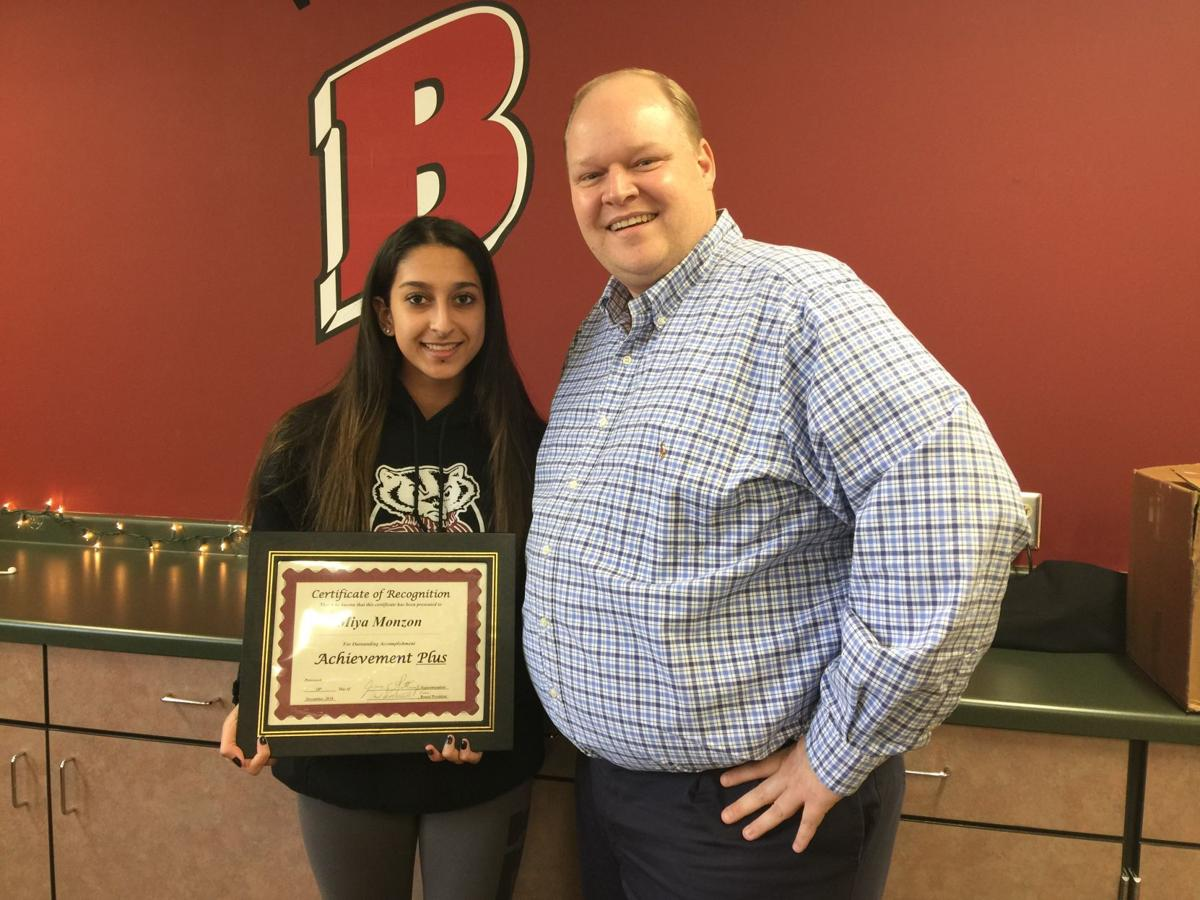 Badger student award with principal