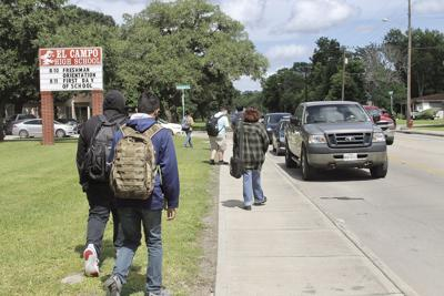 Students leaving school with mask mandates in place