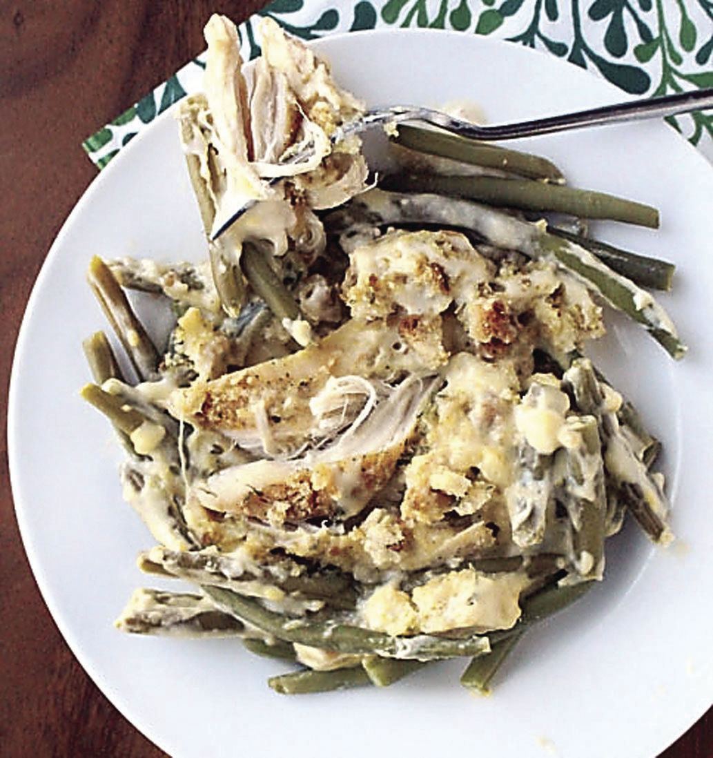slow cooker creamy crock pot chicken stuffing and green beans