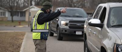 Directing traffic at COVID-19 testing site