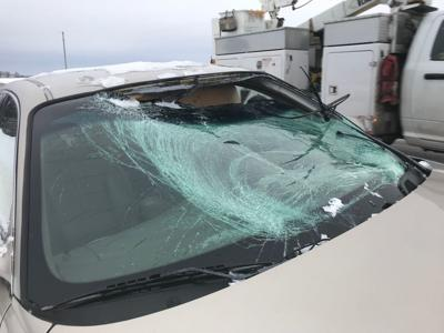 Windshield smashed