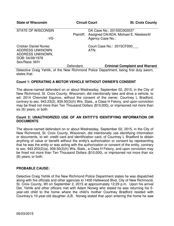 Cristian Daniel Nunez criminal complaint | Daily Updates