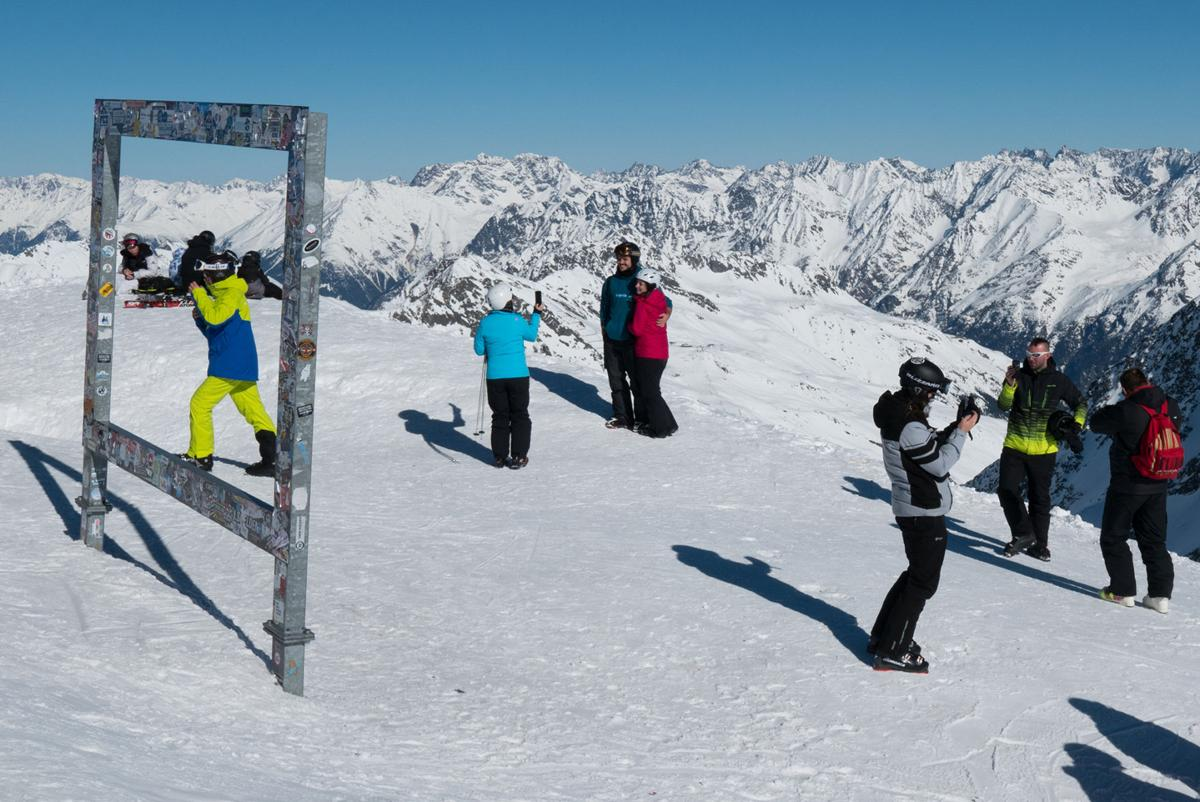 The view from more than 3,000 meters high, in Soelden, Austria.