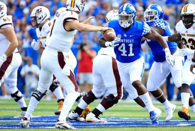 Kentucky's Josh Allen (41) plays against Central Michigan at Commonwealth Stadium in Lexington, Ky., on September 1, 2018. (Andy Lyons/Getty Images/TNS) **FOR USE WITH THIS STORY ONLY**