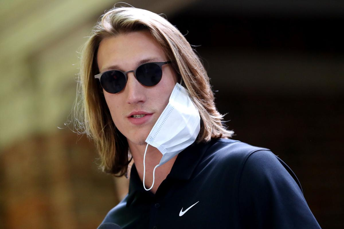 "Clemson quarterback Trevor Lawrence addresses the media before the ""March for Change"" protest at Bowman Field on June 13, 2020 in Clemson, South Carolina."