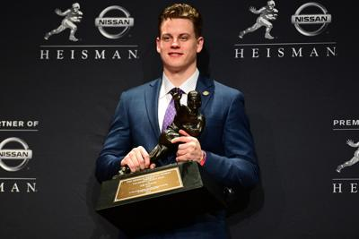 LSU quarterback Joe Burrow after winning the Heisman Memorial Trophy at the Marriott Marquis Hotel in New York on Saturday, Dec. 14, 2019. Burrow's speech spurred many donations to an Ohio food pantry.