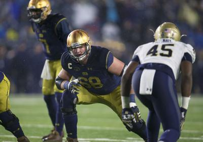 Notre Dame offensive lineman Mike McGlinchey (68) during a game against the Navy Midshipmen on November 18, 2017, at Notre Dame Stadium in South Bend, Ind.