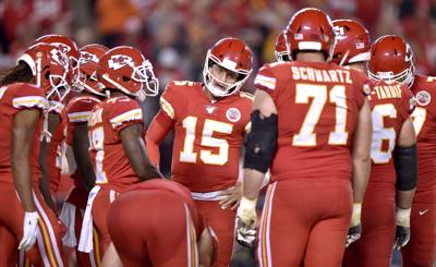 Kansas City Chiefs quarterback Patrick Mahomes (15) talks to his team before breaking the huddle in the third quarter against the Indianapolis Colts on Sunday, Oct. 6, 2019 at Arrowhead Stadium in Kansas City, Mo.