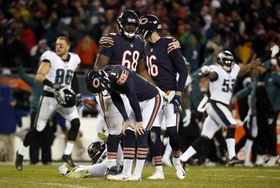 Chicago Bears kicker Cody Parkey (1) misses the potential game-winning kick in a 16-15 loss against the Philadelphia Eagles during the NFC Wild Card game on January 6, 2019, at Soldier Field in Chicago.