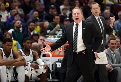 Michigan State Spartans coach Tom Izzo in the first half against Michigan Sunday, March 17, 2019 in the Big Ten tournament championship game at the United Center in Chicago.
