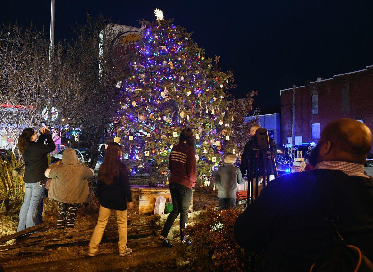 Lebanon's Christmas tree lights the night Hundreds turn out despite rain