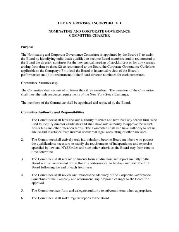 Nominating and Corporate Governance Committee Charter