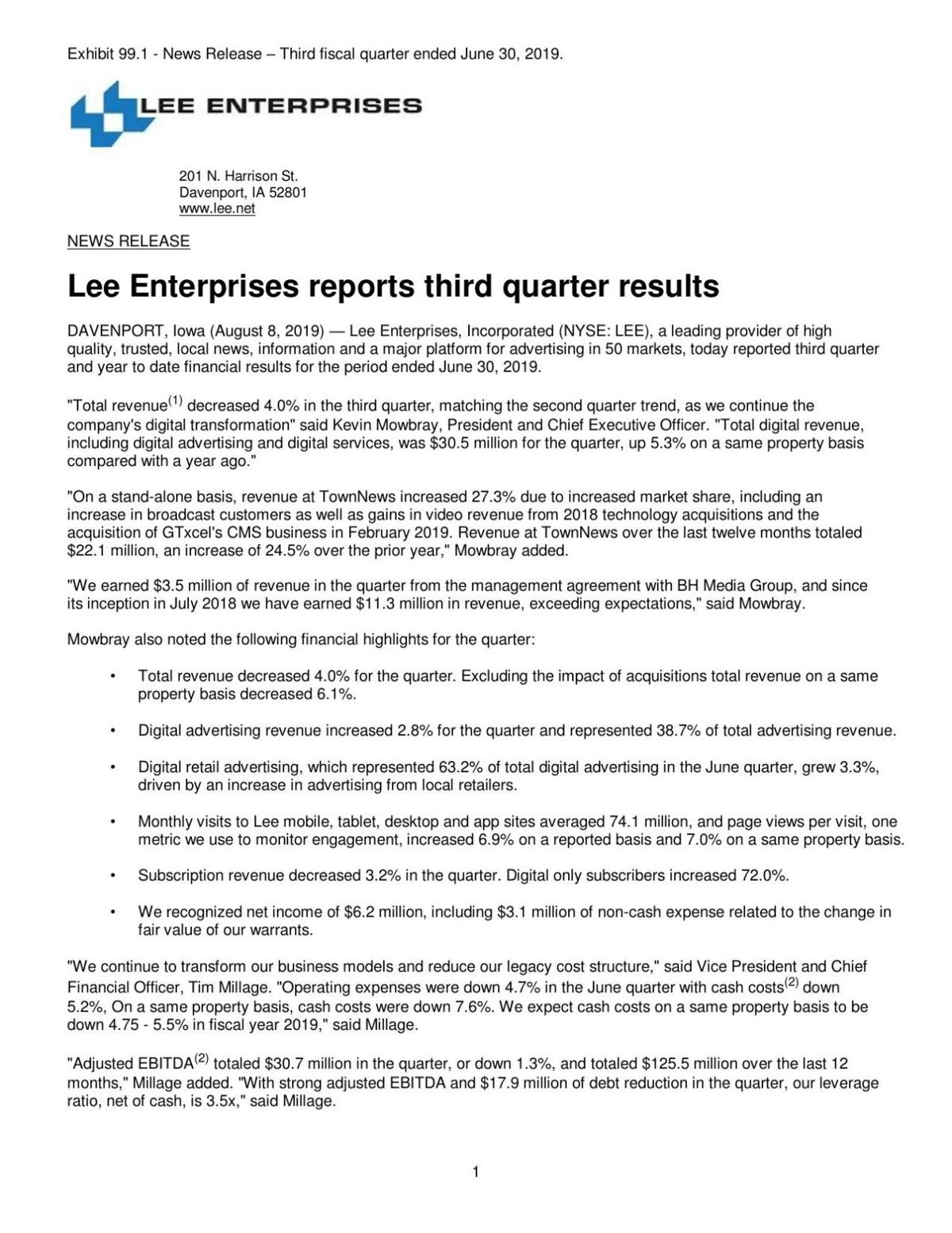 Lee Enterprises reports third quarter results