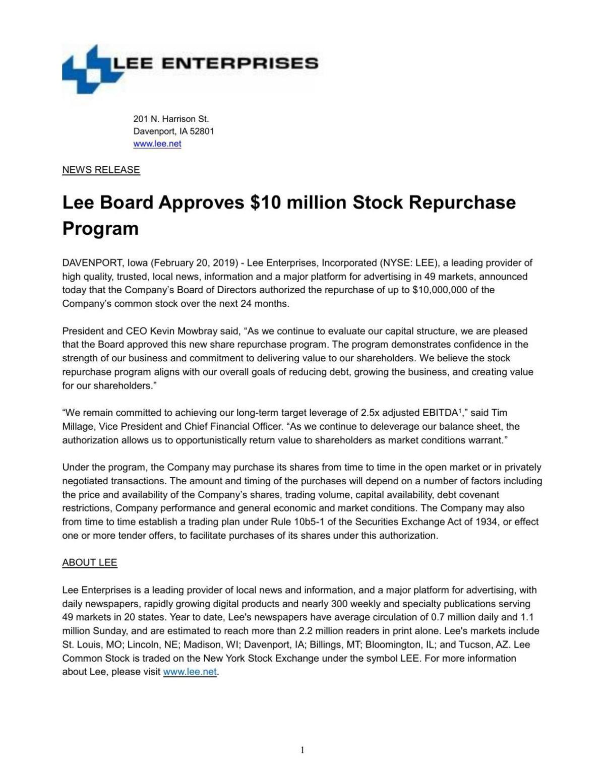 Lee Board Approves $10 million Stock Repurchase Program