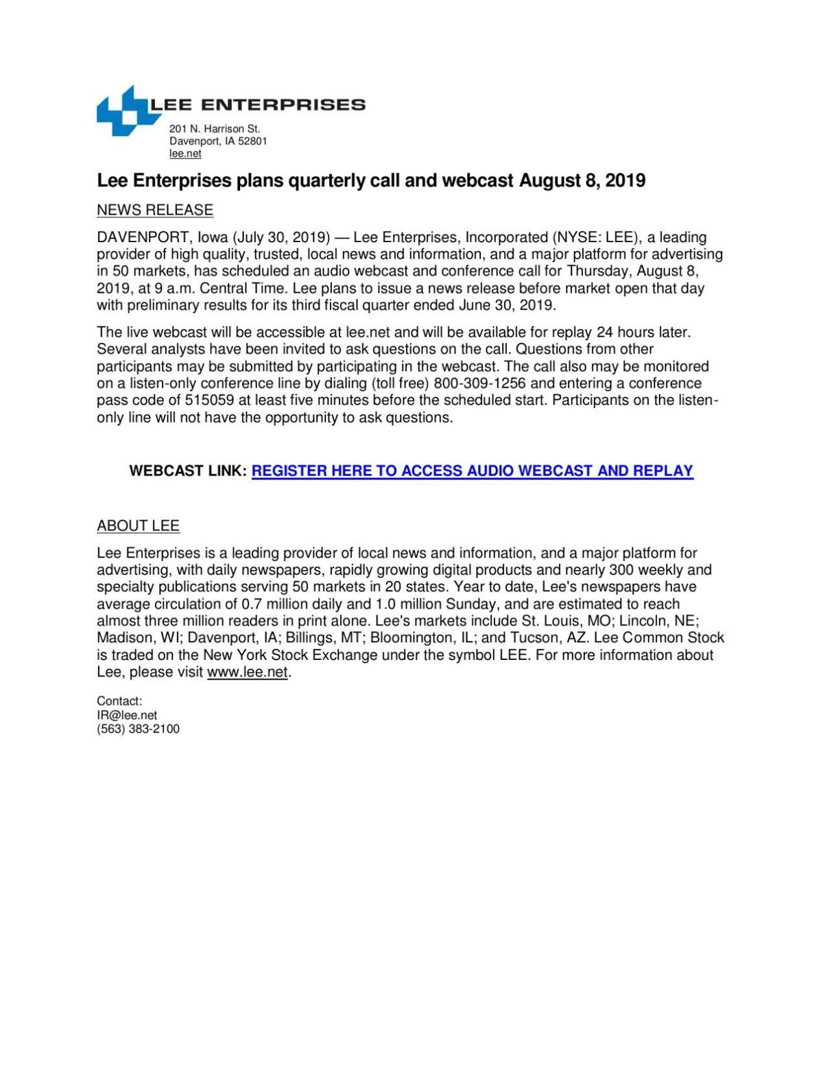 Lee Enterprises plans quarterly call and webcast August 8, 2019